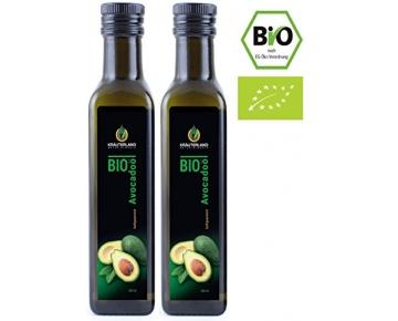 Kräuterland Bio Avocadoöl, kaltgepresst, 100% rein, nativ, 500ml, zum Braten und Grillen, für Dips, Dressings und Marinaden, für Haut- und Haarpflege (2x250ml)
